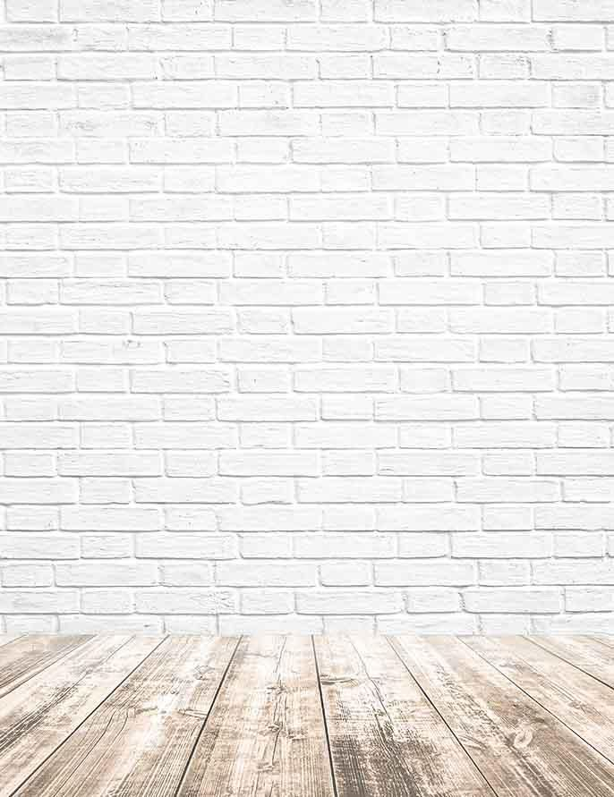 Printed White Brick With Wooded Floor Texture Photography Backdrop J 0326 Brick Backdrops White Brick Background Painted Brick Walls