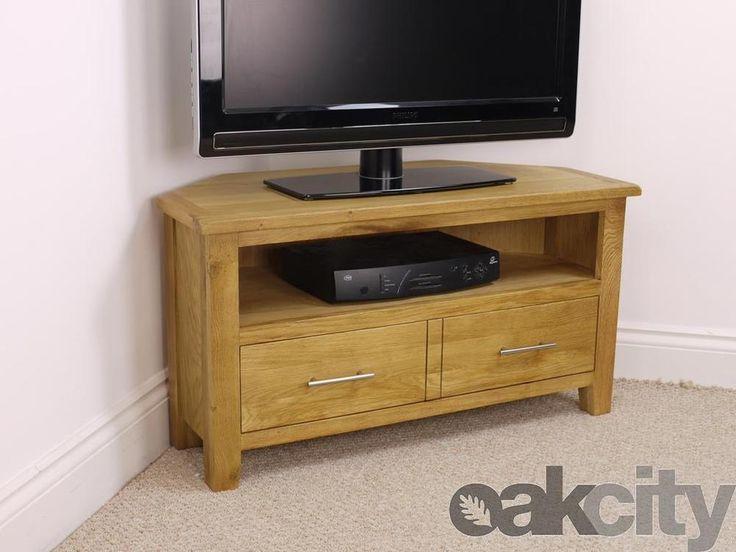 Nebraska Modern Oak Corner Tv Unit Solid Wood Stand Oiled Cabinet New And
