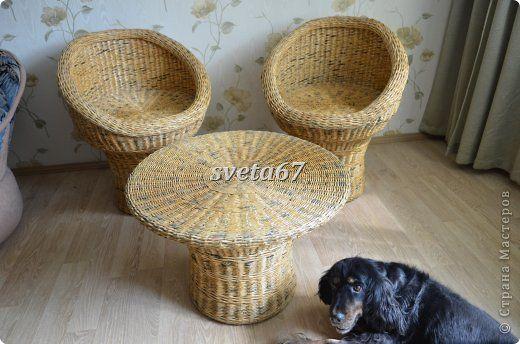 Поделка изделие Плетение Столик и кресла Бумага газетная фото 9