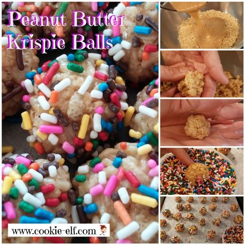 Peanut Butter Krispie Balls: an easy, no-bake cookie recipe and Rice Krispie Treat variation from The Cookie Elf