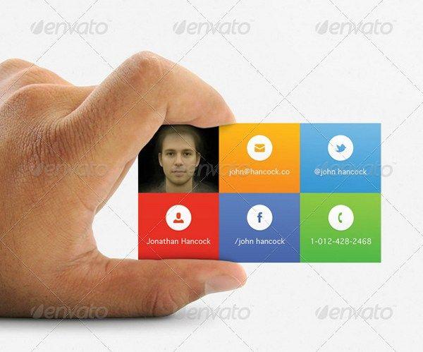 Social windows 8 tiles design business cards for Windows business card template