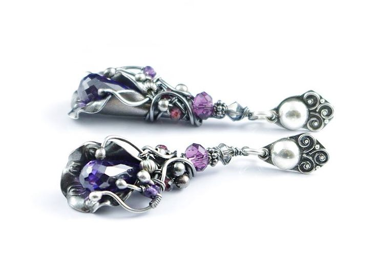 """Gorgeous, silver earrings, with Zircons, Swarovski Crystals, Amethysts, Garnets, bali silver, in a original silver braid. Beautiful, remarkable earrings, for a woman who likes unique jewelry :) Total Earring Length: 5,5 cm (2.17""""); Sterling silver (earwire and decorative accessories) fine silver (wire); Technique: metalwork; On request I make a similar earrings in other material - silver, copper, brass, silver-plated copper, bronze. Interested persons are welcomed to contact :)"""