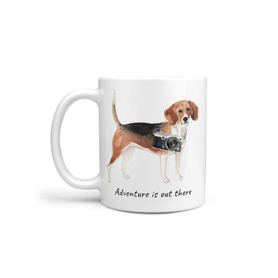 Adventure Is Out There Beagle Dog Mug; Cute Illustrated