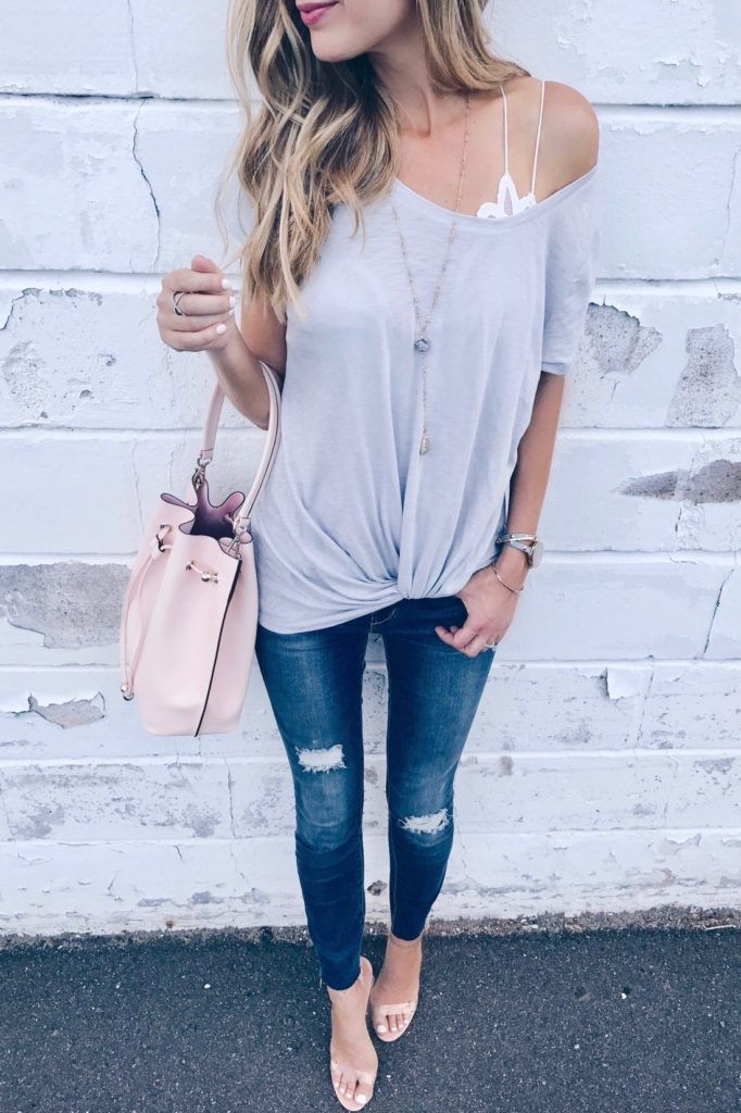 44ec5b8ea77532 Spring outfit with bralette peeking out.  casualoutfit  springoutfit
