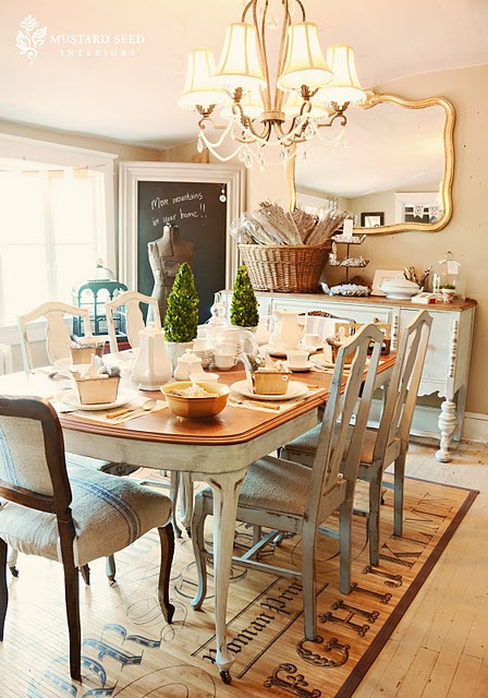 Gold mirror, painted buffet, antique table & chairs.