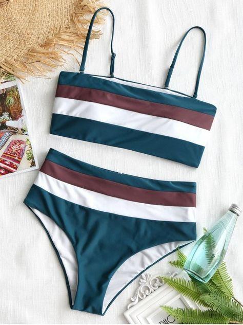 Cami Striped High Waisted Bikini 7