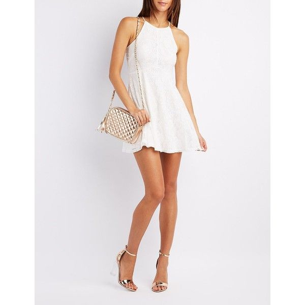 Charlotte Russe Lace Lace-Up Skater Dress ($20) ❤ liked on Polyvore featuring dresses, white, lace skater dress, lace dress, white day dress, lace fit-and-flare dresses and white skater dress