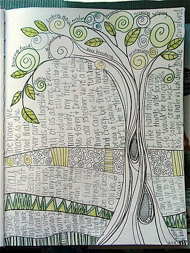 page inspirationDoodles Art, Journal Ideas, Journals Inspiration, Art Journal Pages, Journal Art, Art Journals, Journals Ideas, Trees, Journals Art