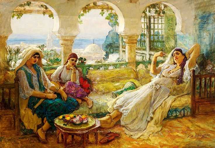 Algeria mid 1800s: Muslim ladies of a household relax within the privacy of their terrace. The architectural layout of these terraces were absolutely superb. The view was grand plus the ladies enjoyed their privacy to the fullest, hidden from the view of outsiders. Artist Bridgeman Frederick Arthur.
