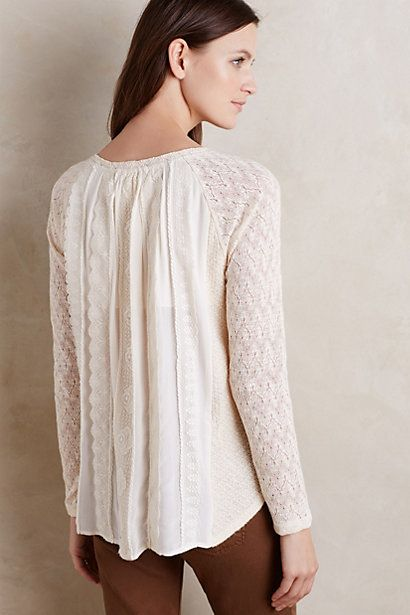 This one in the dark gray! Feathered Lace Pullover #anthropologie