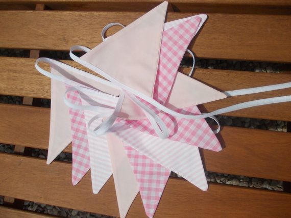 Fabric Bunting, baby pink cotton fabrics, stripes, gingham and pink fabric