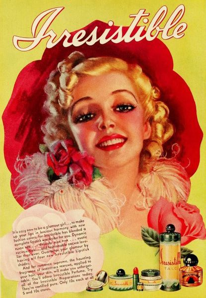 A gorgeous ad for Irresistible cosmetics, 1939. #vintage #beauty #makeup #1930s