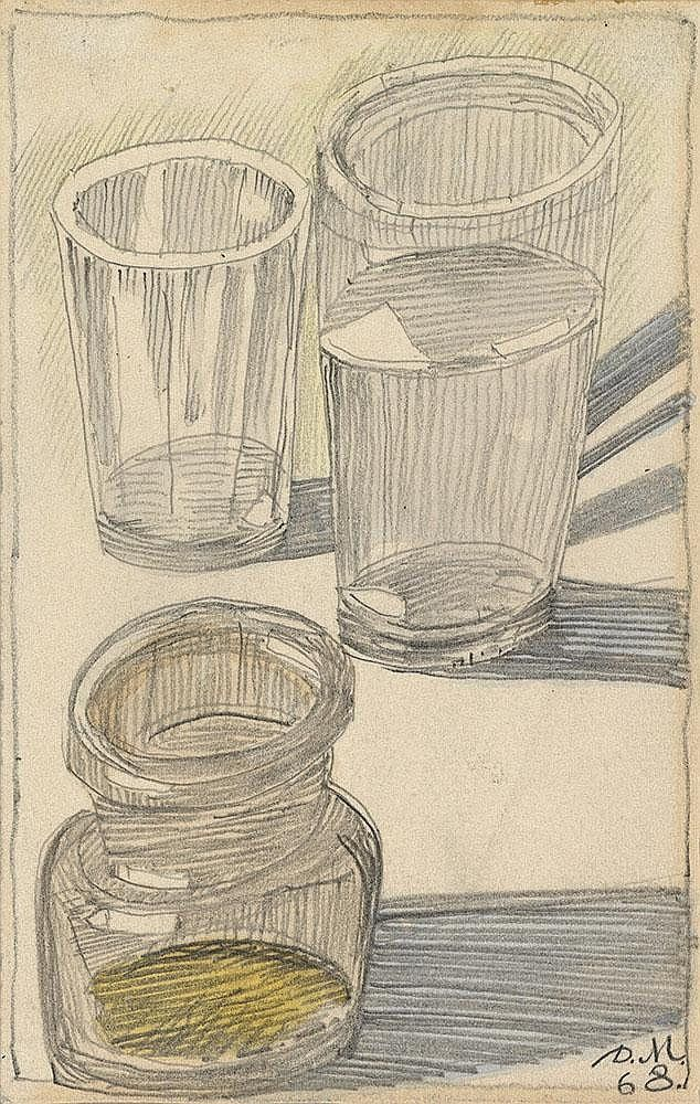 H3145-L17162504.jpg (634×1000) MITROKHIN, DMITRI 1883-1973 Still Life with Two Glasses and a Jar, Gingerbread, February and Window Overlooking Skakowaya Street four works, one signed with initials, dated 1964 and titled in Cyrillic, three signed with initials and dated between 1968, 1970 and 1972, also further inscribed in Cyrillic on the reverse Pencil and watercolour on paper, the largest measuring 19.5 by 14 cm