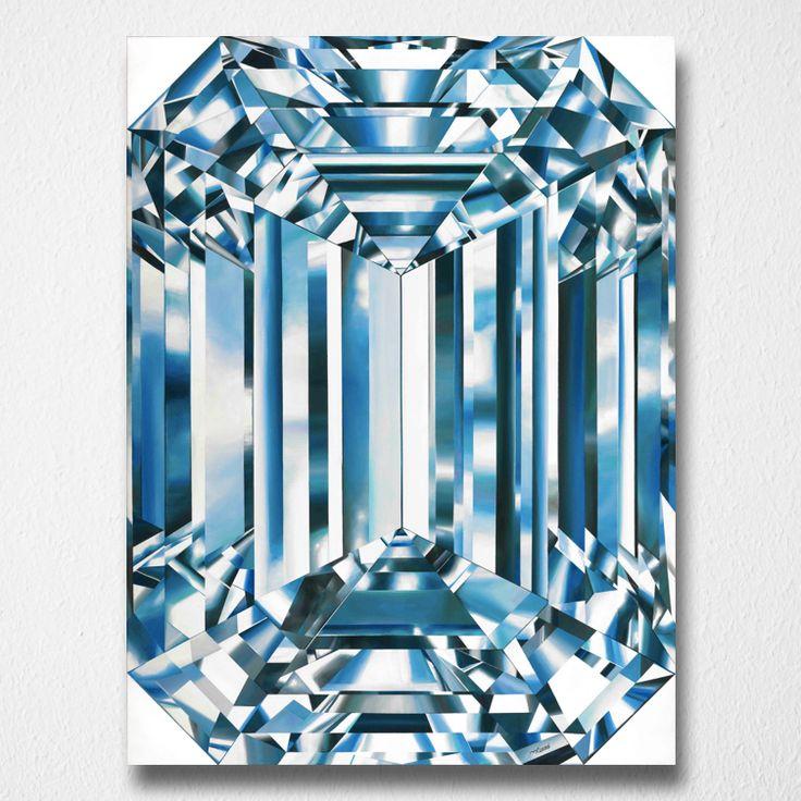 Regal Blue (Canvas print) by Reena Ahluwalia. Fancy Vivid Blue Emerald Cut Diamond. Starts from 345.00. #FancyColorDiamonds #DiamondPaintings #DiamondArt #ReenaAhluwalia #BlueDiamond #EmeraldCut