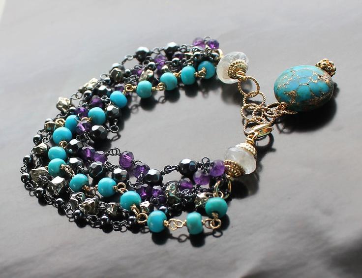 5-Strand Bracelet. Amethyst,Turquoise,Pyrite,Hematite,Moonstone,Lazulite. $150.00, via Etsy.