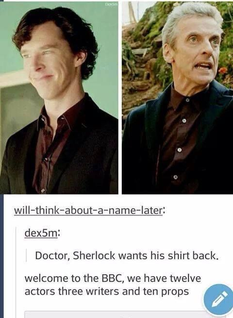 The BBC, ladies and gentlemen.<-- Am I the only one that thinks, if there is ever a special where this happens, that Peter NEEDS to play old Sherlock!? <--- Yes. But I would love the Doctor to meet Sherlock