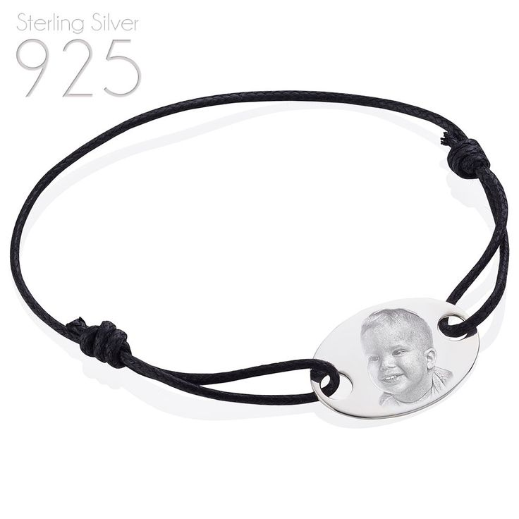 STERLING SILVER 925 OVAL BLACK CORD BRACELET | PHOTO AND TEXT ENGRAVED #EngravedMemories #Friendship