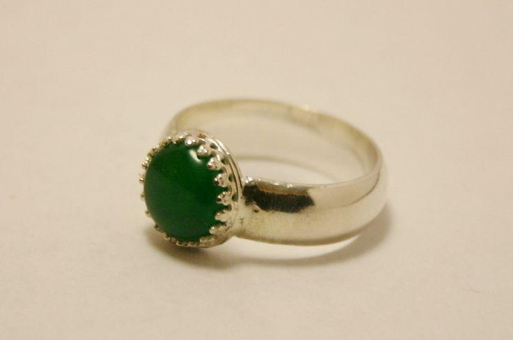 Sterling Silver Jade Ring, Jade Ring, Green Jade Ring, Silver Jade Ring by LokiblueCreations on Etsy