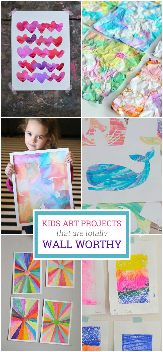 These kids art projects are absolutely beautiful. Of course, we love each and every thing our child makes, but these fun ideas are especially wall worthy.