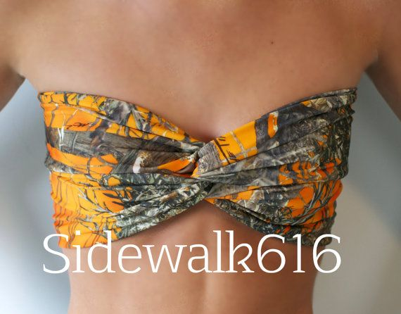 Orange Camo Bandeau Top Spandex Bandeau Bikini by Sidewalk616