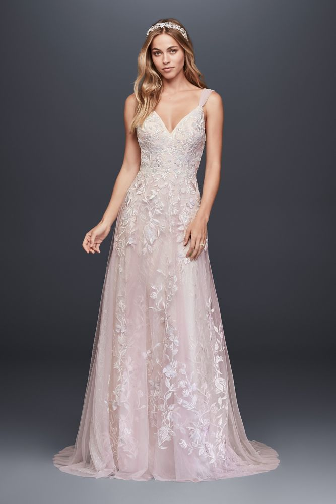 Melissa Sweet Floral Wedding Dress with V-Neckline Style 8MS251151, Champagne, 18W