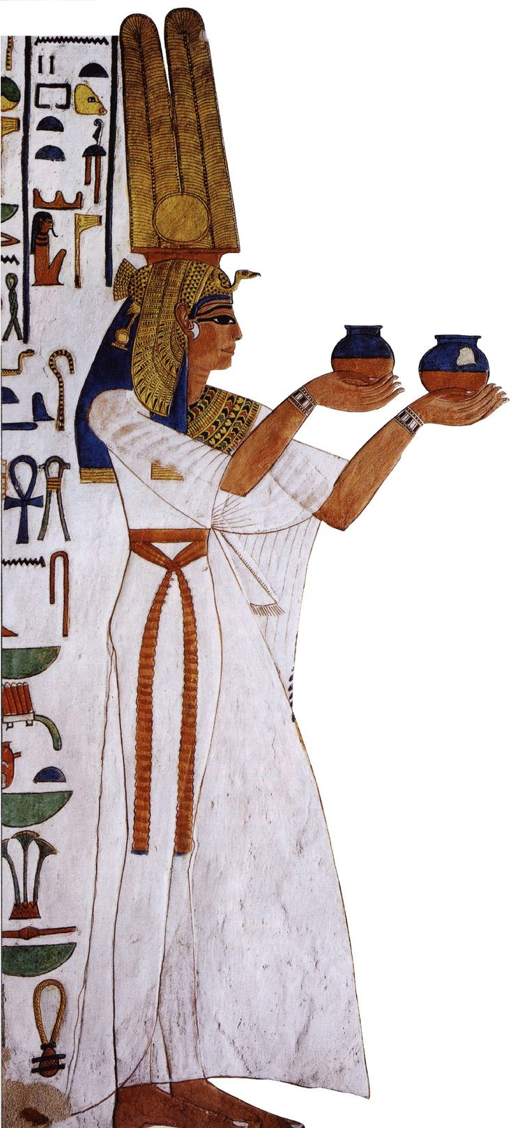 Tomb wall depicting Queen Nefertari, the great royal wife of Pharaoh Rameses II.  19th Dynasty of Egypt. c. 13 centure BCE