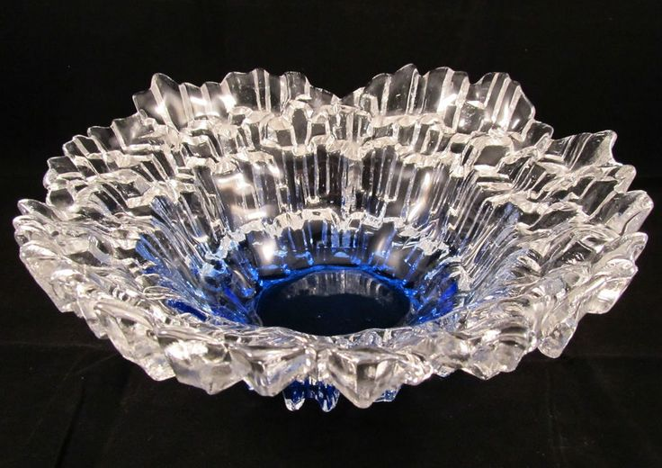 LARGE TAUNO WIRKKALA STYLE HUMPPILA FINLAND GLASS BOWL BLUE NORTHERN LIGHTS in Pottery & Glass, Glass, Art Glass   eBay