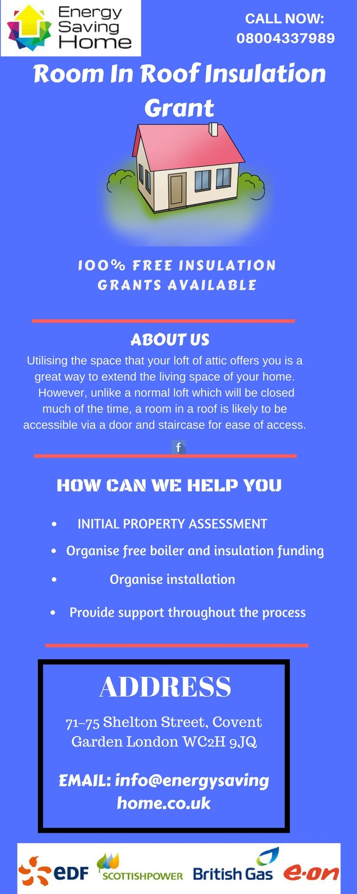 Get free room in roof insulation grants under Government roof insulation Scheme. Save money by Retaining the heat in your roof and reduce heating bills.