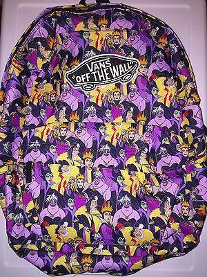 Vans Disney Villainess Ursula Cruella Maleficent Evil Queen Print Backpack Nwt
