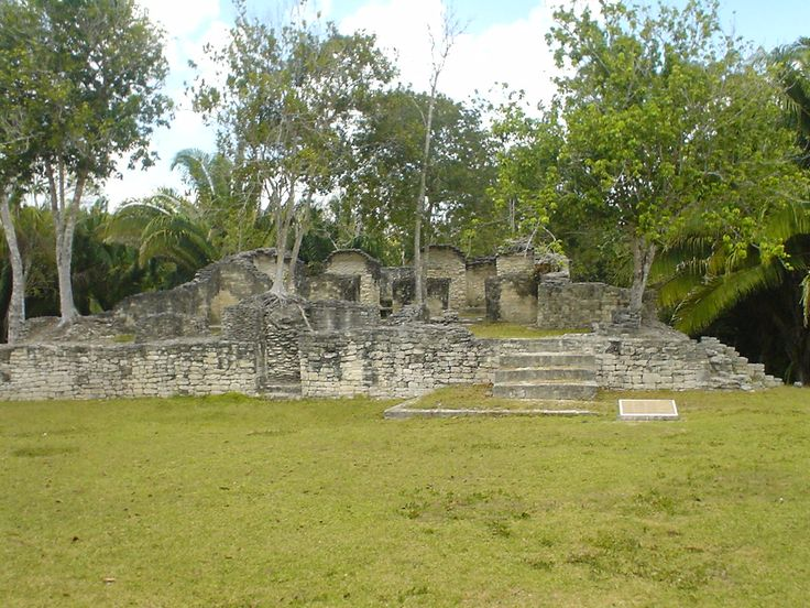 Plaza at Kohunleach, Maya site at 2 hours from eco hotel Maya Luna Mahahual, Costa Maya