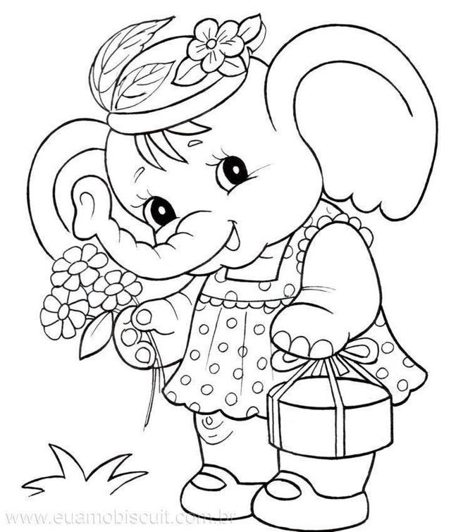 Cute Elephant Coloring Page Coloring