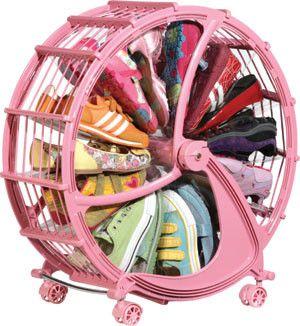 Eclectic Closet Storage by Rakku Rakku Rakkido for Kids -  Kids love Ferris wheels, so why not store their shoes in one?