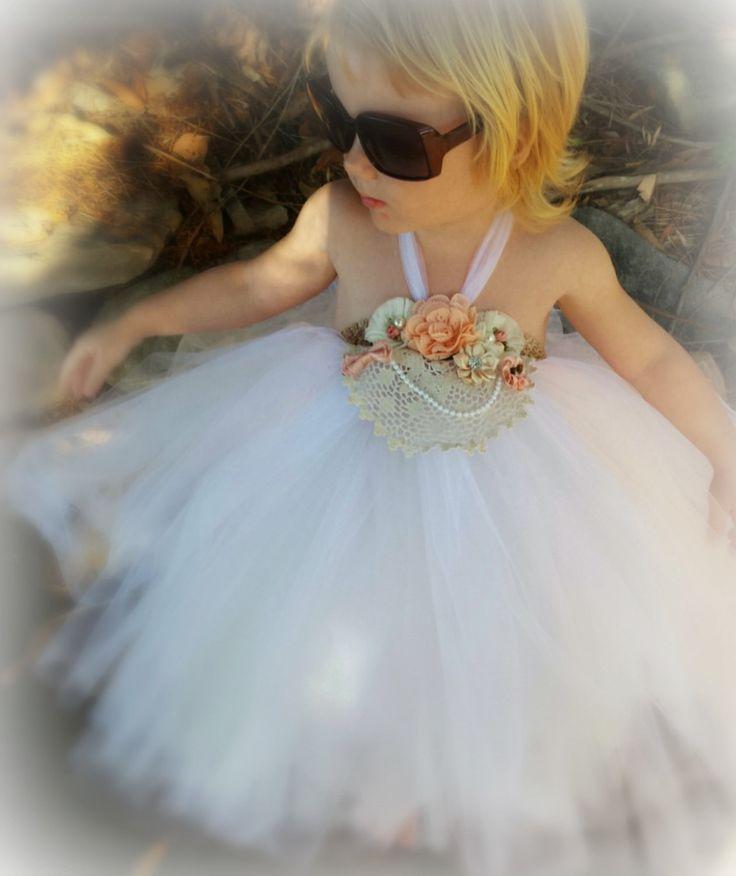 Vintage Glamour Flower girl tutu dress, white, peach, silver by MadeWithLove4U01 on Etsy