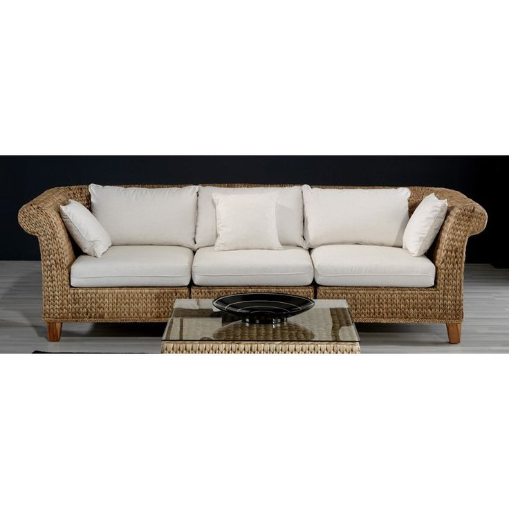 Hospitality Rattan Seagrass 3 Piece Sofa Set With Cushions   Natural