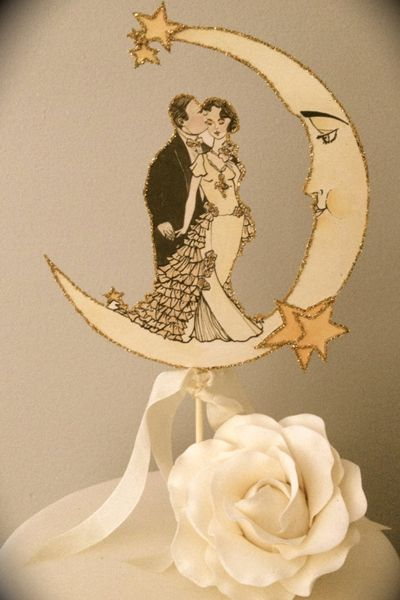 Under the moon wedding cake topper
