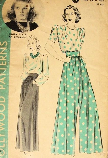 1940s EVENING WIDE PANTS, TUCK IN BLOUSE PATTERN  HOLLYWOOD  463 MOVIE STAR LINDA HAYES