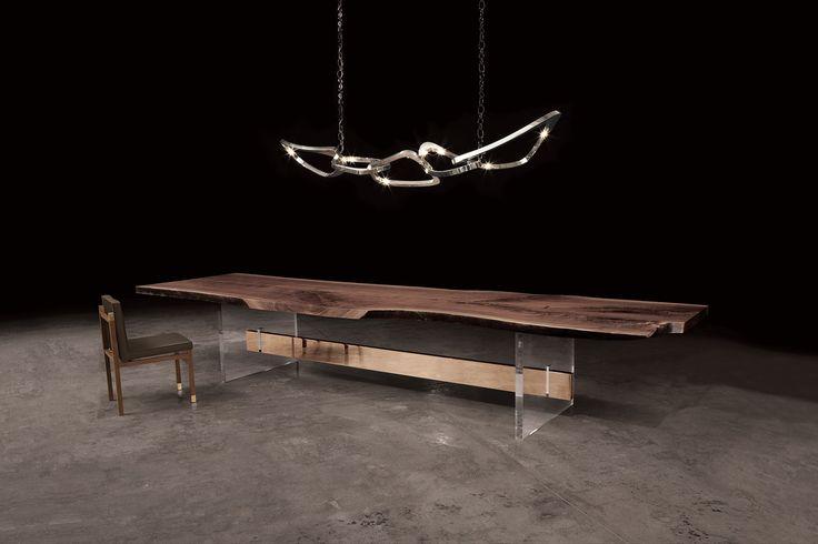 """Pangea"" ceiling fixture and ""Homme"" dining table by"