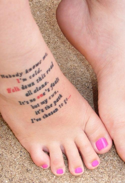 "Foot Tattoos | Foot Tattoo (Eminem ""Space Bound"" Lyric) #2 – Tattoo Picture at ..."