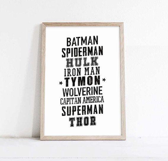 Superheropersonalized posterkidsDecorWall by WeJustLikePrints