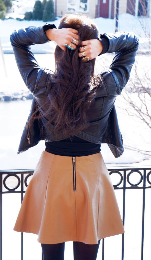 Layering leather ... love this look for winter! Leather jacket, leather skirt, tights and booties.