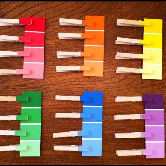 A great color matching activity for toddlers, all you need are some clothes pins and paint swatches.