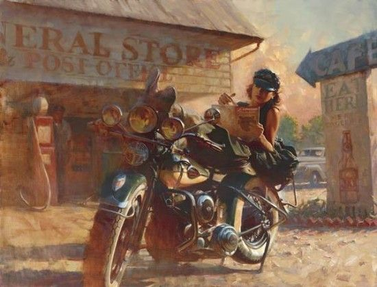 Appearing on the cover of the Harley Davidson Enthusiast magazine in May and November of 1929, David Uhl painted this piece of her…