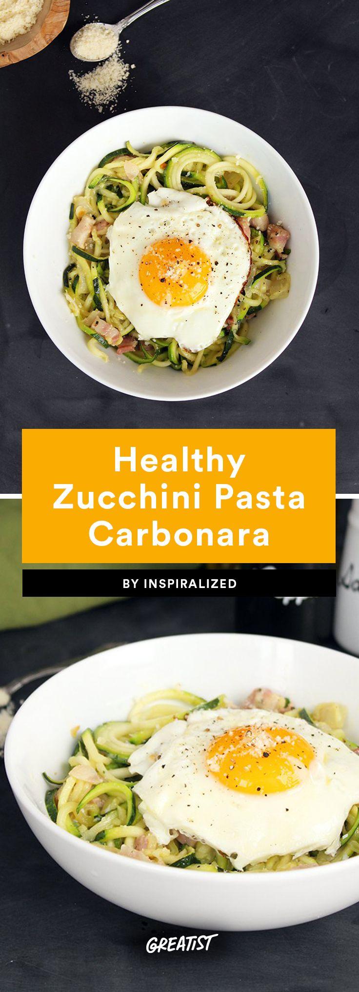 3. Healthy Zucchini Pasta Carbonara #healthy #recipes #zucchini https://greatist.com/eat/healthy-zucchini-noodle-recipes
