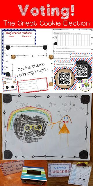 Vote in the classroom with this fun mini-unit!  Voting: The Great Cookie Election makes the voting process easy to understand for students in kindergarten, first or even second grade!  Plus a FREE sample from the unit!