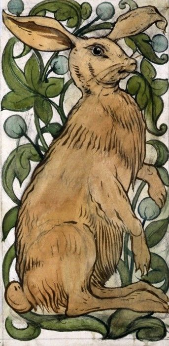 This would look good on a door panel   easy to do as well... from a Rabbit tile, William De Morgan, Arts & Crafts Movement.