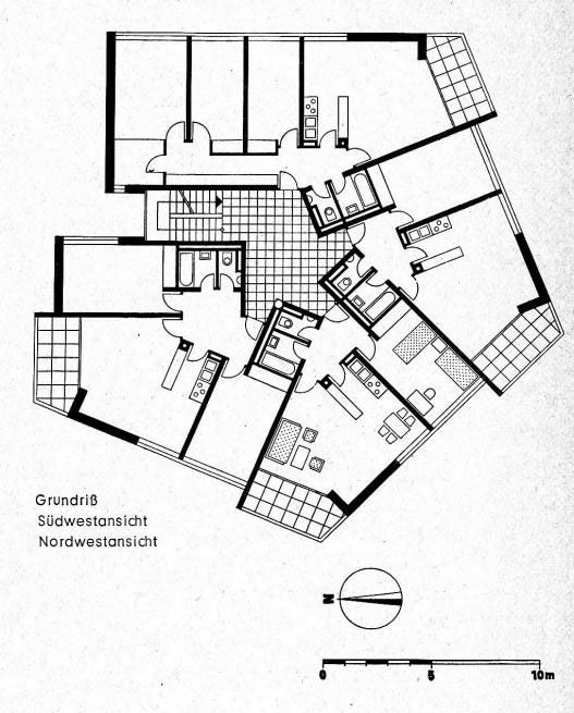 Planta tipa Bartningallee 12, en Hansaviertel, por Otto Heinrich Senn, en Hansaviertel, Berlin, Alemania, en 1957