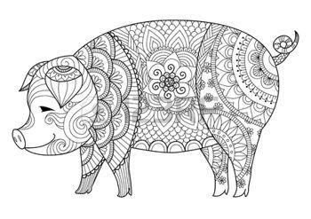 coloring pages print: Dibujo cerdo para colorear para adultos y otras decoraciones