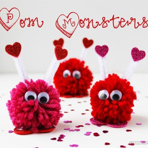 Valentine Pom Monsters! Cute idea!