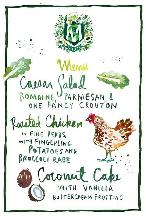 hand-painted menu by Happy Menocal via David Stark... don't you just *adore* the crest?
