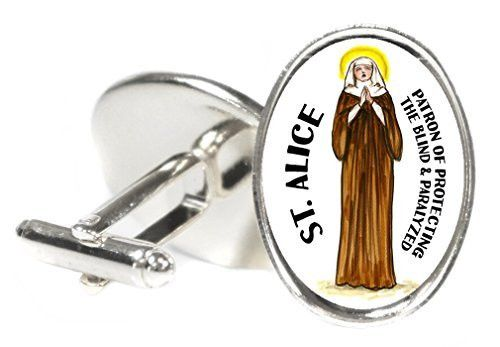 Saint Alice Patron of Protecting the Blind & Paralyzed Oval Silver Pair of Cuff Links